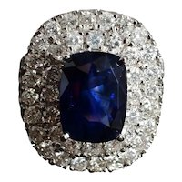 6ct Royal Blue Sapphire Double Halo Ring 18k
