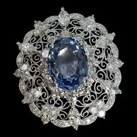 13ct Unheated Blue Sapphire Filigree Brooch Edwardian Style 18k
