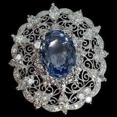 13ct Unheated Blue Sapphire Filigree Brooch Edwardian Style 18k