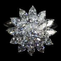 Marquise Diamond Flower Cluster Ring 18k