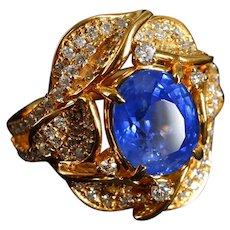 5ct Blue Sapphire Flower Ring 18k Art Nouveau Style