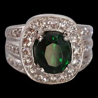 3ct Tsavorite Diamond Cluster Ring 18k