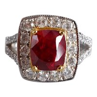 3ct Unheated Deep Red Ruby Halo Ring 18k