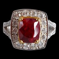 3ct Unheated Red Ruby Halo Ring 18k