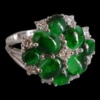 Two Green Jadeite Jade Cluster Ring 18k