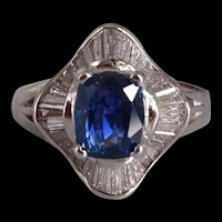 Art Deco Blue Sapphire Ring 22k Vintage
