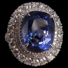 13ct Unheated Indigo Sapphire Halo Ring 18k