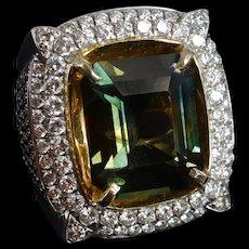 17ct Tri Color Sapphire Diamond Ring Men 18k