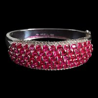 14ctw Burmese Ruby Cuff Bangle 18k