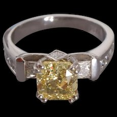 2ct Fancy Yellow Diamond Platinum Ring GIA