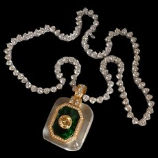 16ctw Diamond Quartz Jade Pendant Riviera Necklace 18k