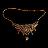 Antique Diamond Filigree Choker Necklace Chinese 20k