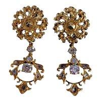 22k Chinese Gold Pendant Earrings Diamond Vintage