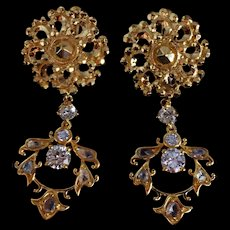 22k Chinese Gold Pendant Earrings Diamond Vintage