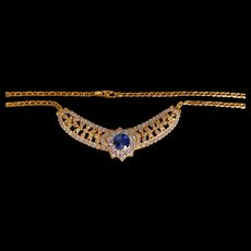 Blue Sapphire Diamond Filigree Necklace 18k