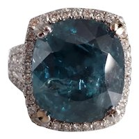 16ct Unheated Teal Burmese Sapphire Ring 18k