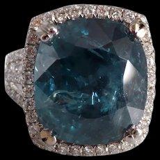 16ct Unheated Teal Burmese Sapphire Ring 18k