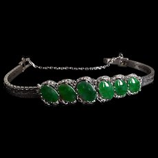 Antique Chinese Jade Omega Bracelet 18k Palladium