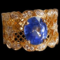 Cornflower Blue Sapphire Wide Mesh Ring 18k
