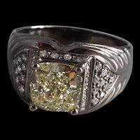 2.21ct Fancy Yellow Diamond Men Pinky Ring Black Gold 18k
