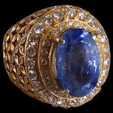 10ct Blue Sapphire Lattice Cigar Ring Men 18k