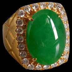 Apple Green Jade Cabochon Ring Men 18k