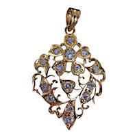 Antique Diamond Pendant Chinese Filigree 18k