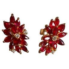 Vivid Marquise Ruby Floral Earrings 18k