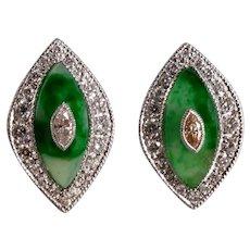 Platinum Marquise Jade Diamond Earrings Art Deco Style