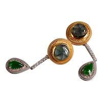 Trapiche Emerald Jade Drop Earrings 22k