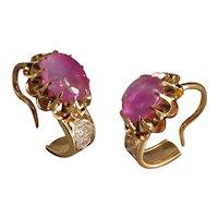 22k 24k Traditional Chinese Earrings Burmese Ruby