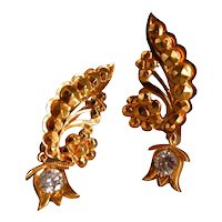 22k Antique Chinese Phoenix Diamond Drop Earrings