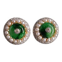 'Harem' Diamond Jade Pearl Earrings 22k 18k