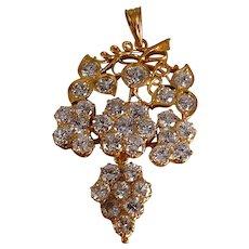 4ctw Old Euro Art Nouveau Diamond Pendant 20k Chinese