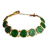 Antique Jade Coin Charm Bracelet 20k Chinese