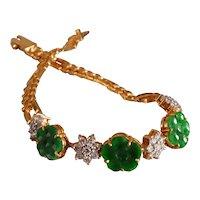 22k Antique Flower Jade Diamond Bracelet Chinese