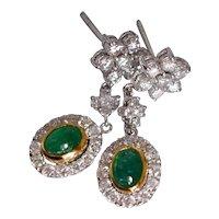 Emerald Diamond Drop Earrings 18k