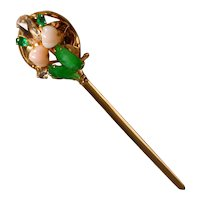 Art Nouveau Antique Chinese Hair Stick Pin 22k 'Spring'