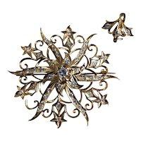 Antique Filigree Diamond Brooch Pendant Starburst 20k Chinese