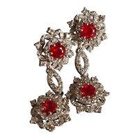 Burmese Ruby Drop Earrings White Gold 18k