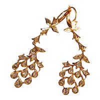 Antique Rose Cut Diamond Chandelier Earrings 20k Chinese