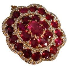 Red Ruby Diamond Floral Pendant 18k