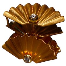 22k Fan Cuff Artifact Ear Ring, Fan Earrings