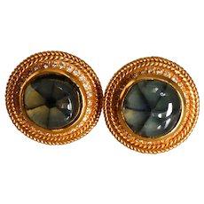 Gothic Trapiche Emerald Stud Earrings 22k