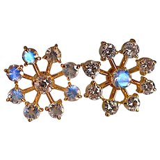 22k Moonstone Diamond Snowflake Earrings