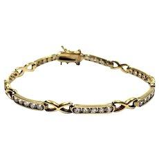 Vintage Sterling Vermeil Hugs & Kisses Diamonique Tennis Bracelet CL Signed