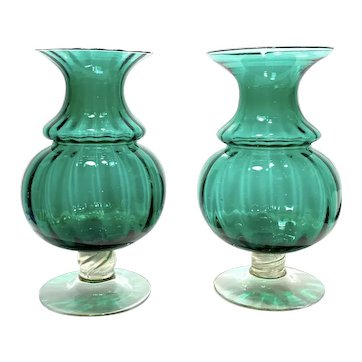 Pair Of Large Superb Murano Venetian Green Gold Flaked Glass Hand Blown Vases