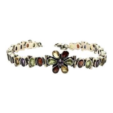 Vintage Sterling Silver Amethyst/Peridot/Citrine/Garnet Floral Link Tennis Bracelet 19.5g