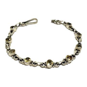 """Vintage Sterling Silver Faceted Citrine Link Tennis Bracelet 7 3/4"""""""