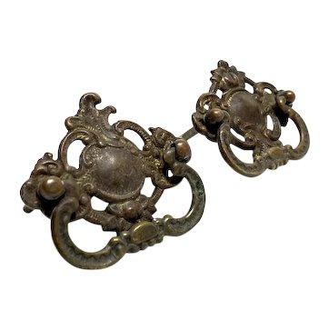 Pair of Antique Bronze Ornate Door Drawer Cabinet Handles